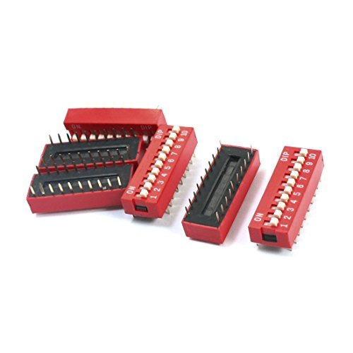 DealMux a14061400ux0013 zweireihig 20 Pin 10 Positionen 2,54 mm Pitch Dip-Schalter, Rot DLM-B00OK48VG2