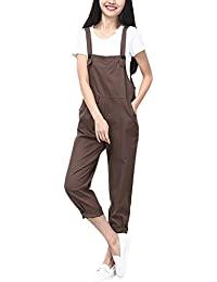 Women's Sleeveless Overall Strappy Pocket Jumpsuit Romper Bib Trousers