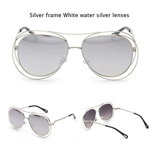 mm amp;Watersilver 62 transparentes Silver redondas Silver altura lentes gran de arcoíris metal de de tamaño de Z blancas Gafas huecas de amp;HA marco gradiente planas Bluepink sol y xHpRpS