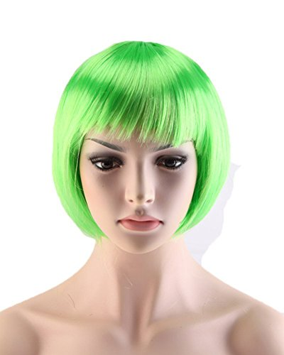 Chic Short Straight Bob Wigs with Neat Bangs 7 Colors for Women Cosplay Costume Party Synthetic Heat Resistant Fiber (Green) - Expensive Costumes