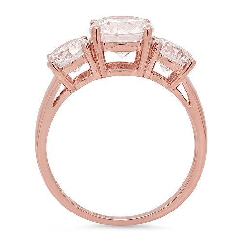 3.25ct Brilliant Round Cut Solitaire 3-Stone Engagement Wedding Anniversary Bridal Promise Band Ring Solid 14K Rose Gold for Women, 5 by Clara Pucci (Image #1)