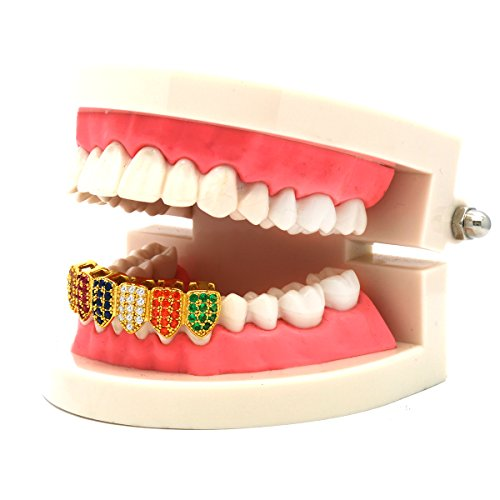 L&L Nation 18K Gold Plated Multi Color CZ Top & Bottom GRILLZ Mouth Teeth Grills