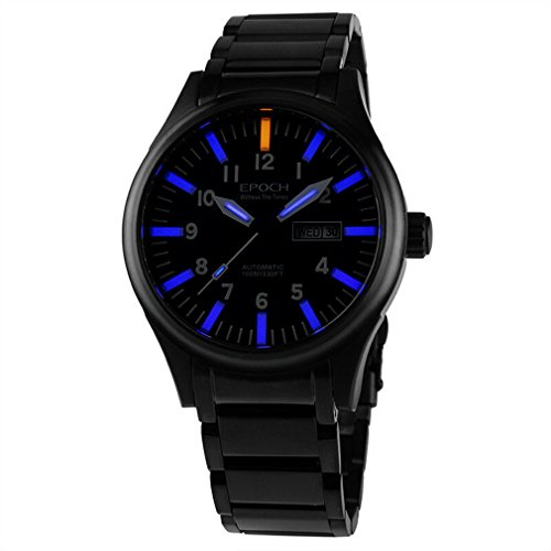EPOCH 7016G steel strap waterproof 100m tritium blue luminous steel strap mens business mechanical watch - Black -  7016G Black Blue
