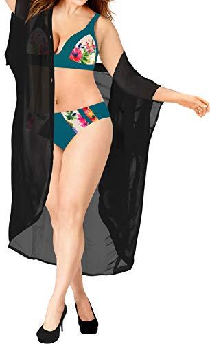Women Casual Beach Loose Kimono Cardigan Swim Capes Chiffon Solid Black_A470