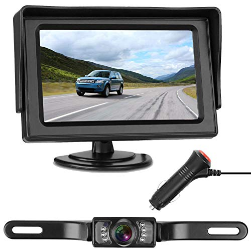 (LeeKooLuu Backup Camera and Monitor Kit for Car/RV/Truck/Pickup/Van/Camper Waterproof Night Vision Rear View Camera Single Power Reverse/Continuous Use 4.3 Display Grid Lines)