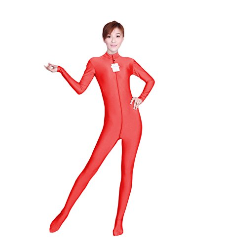[WOLF UNITARD Long Sleeve Bodysuit for Adult and Child Small Red] (Acrobat Costume Circus)