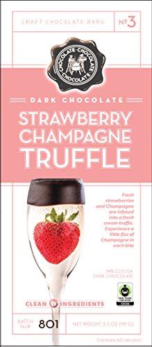 Dark Chocolate Strawberry Champagne Truffle Bar- 12 Pack