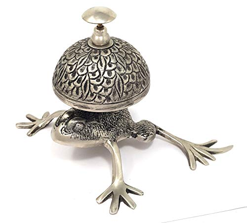 Nickel Call Plated Bell - Brass Nautical - Beautiful Desk Bells Unique Table Bells Home Decor Gift Call Bell Reception Bell (Frog/Todd, Antique Nickel)