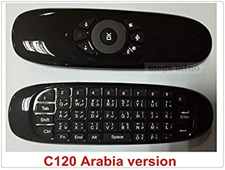 Calvas Gyroscope Fly Air Mouse C120 Wireless Game Keyboard Remote Control Rechargeable 2.4Ghz Keyboard for android Smart TV box Mini PC Color: Black