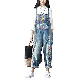Soojun Women's Fashion Printed Drop Crotch Denim Bib Jumpsuits