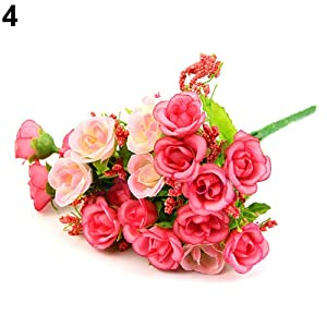 WskLinft 1 Bouquet 21 Heads Artificial Roses Bridal Home Wedding Party Decor Fake Flowers - Pink 18