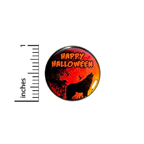 Happy Halloween Wolf Button Pin Raven Spooky Trick Or Treat Party Favor 1