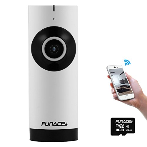 FunAce Mini 180 Degree Fisheye WiFi IP Network Wireless HD Camera with 32 GB MicroSD Card
