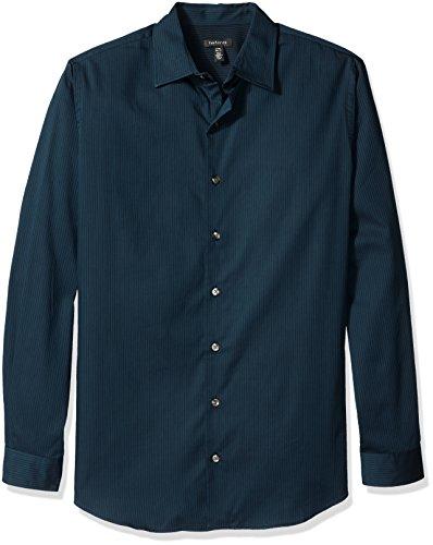 Sateen Stripe Shirt (Van Heusen Men's Big and Tall Long Sleeve Stripe Sateen Shirt, Galactic, X-Large Tall)