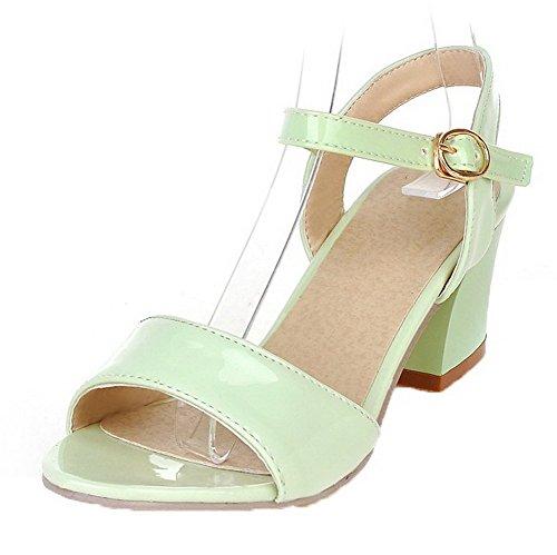 VogueZone009 Women Patent Leather Open-Toe Kitten-Heels Buckle Solid Sandals Green