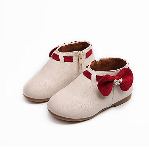 Hunpta Kleinkind Baby Mädchen Kinder Mode Bowknot Sneaker Stiefel Reißverschluss Freizeitschuhe Beige