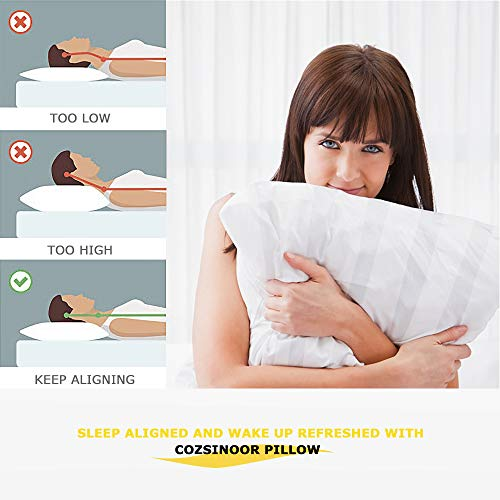 COZSINOOR Hotel Collection Pillows for Sleeping (2-Pack)- Luxury Down Alternative Pillow 100% Breathable Cotton Cover Skin-Friendly (Queen Size)