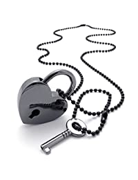 TEMEGO Jewelry Mens Alloy Set of Heart Lock and Key Pendant Necklace Chain