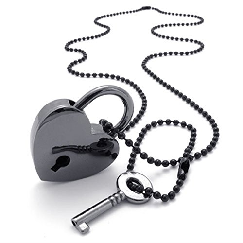 TEMEGO Jewelry Mens Alloy Set of Heart Lock and Key Pendant Necklace Chain, Black - Lock And Key Pendants