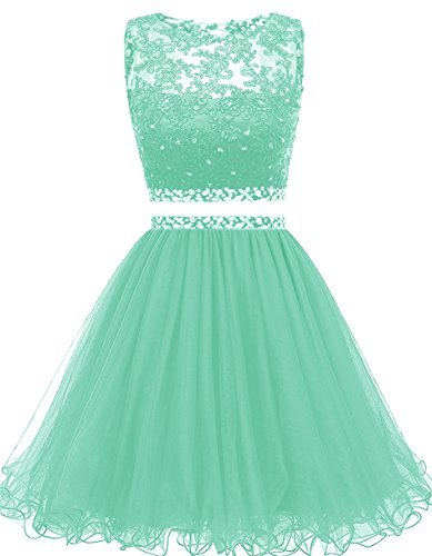 Gown Dress Short (Himoda Women's Two Pieces Short Prom Gowns Beaded Homecoming Dresses H021 2 Mint)