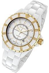 Rougois Women's High Tech White Ceramic Watch with Yellow Gold Trim and 36 Genuine Diamonds