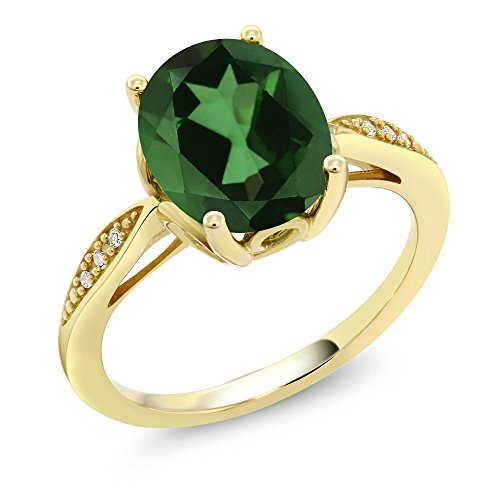 14K Yellow Gold 2.74 Ct Oval Green Mystic Quartz and Diamond Ring