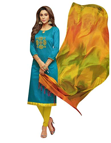 (Womens Blended Silk Handworked Salwar Kameez with Banarasi Dupatta Womens Indian Pakistani Dress Ready to wear Salwar Suit (Size_44/ Blue))