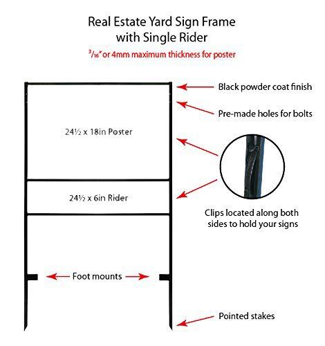 ( 5pack ) Slide-in Real Estate Yard Sign Metal Frame with Single Rider ( 2 Section ) - 24''x18'' ( #2068 ) by LED-Factory (Image #5)