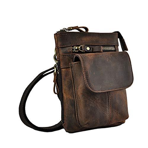 LEUCHTBOX Echtleder Outdoor Gürteltasche Hüfttasche Umhängetasche Handytasche Crossbody Bag für Damen und Herren Unisex…