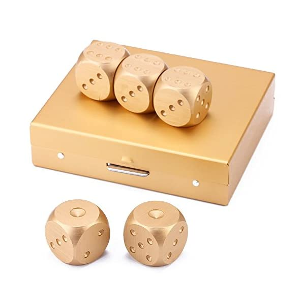 eoocvt 5 in 1 Precision Aluminum Alloy Solid Metal Dices Poker Party Game Toy Portable Dice Man Boyfriend Gift - Golden 5