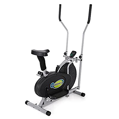 TOMSHOO Elliptical 2-in-1 Cross Trainer Fan Bike Exercise Fitness Machine Height Adjustable Home Gym Workout
