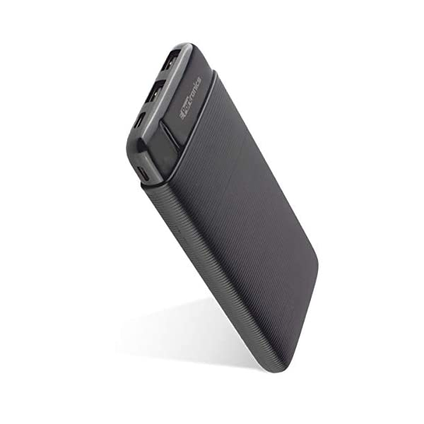 Portronics Power PRO 10K 10000mAh Power Bank with Dual Output Emergency Mobile Charger (POR-1221) (Black) 2021 June Experience Super speed: The Power Pro 10K is the ultimate power bank and travel accessory, with a massive 10,000 mAh Lithium-polymer battery. The high-performance power bank is power-packed & super-fast, yet lightweight, making it dependable and super reliable, wherever you go. Dual USB Ports: The powerbank is equipped with Dual USB output enabling the charging of multiple devices together. Whether it's USB or Type-C, charge any device hassle-free. It is also compatible with all kinds of 5V devices, so your camera, mobile phone, headphones, and other devices don't feel left out. Power of 10,000mAh: Experience power in your pocket with the Power Pro 10K. Provides enough power to keep your electronic devices charged up for the entire day while fitting easily in your pocket. Let nothing stop you from being on the go!