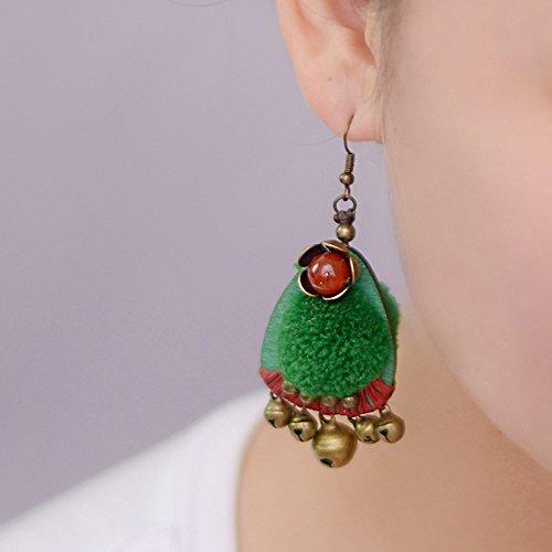 usongs Thai style earrings jewelry national wind plush green wooden balls wind earrings women girls bohemian India by usongs