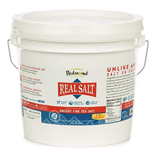 Redmond Real Salt, Nature's First Sea Salt, Fine Salt, 10 Pound Bucket