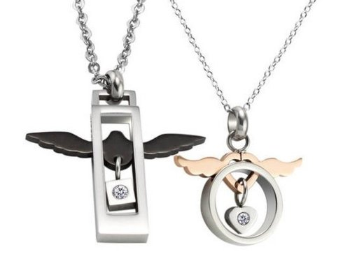 Aegean Jewelry Titanium Couple Pendant Necklace ''Endless Love to You'' Style with a Gift Box and a FREE Small Gift (One Pair) by Titanium Couple Necklace