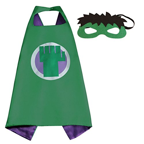 Costume Hulk Girl Incredible (The Incredible Hulk Superhero Capes Costumes with Masks for Kids, Girls & Boys Halloween, Birthdays Party Favors, Dress Up &)