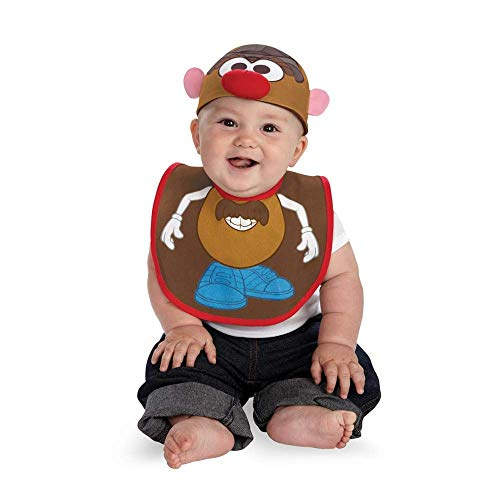 Disguise Costumes Drool Over Me Hasbro Mr Potato Head Infant Bib and Hat  Accessory, Brown/Blue/Red/White, 0-12 -