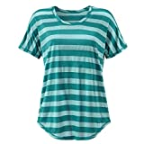 Women Short Sleeve Tops Bohemian Blouse O-Neck T-Shirt Striped Shirt for Ladies Pullover Vest Tank Tops Green