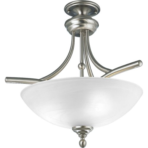 Progress Lighting P3780-09 3-Light Semi-Flush Close-To-Ceiling Chain and Ceiling Mountings Both Included, Brushed - Glendale Three Light Nickel Brushed
