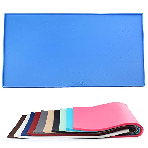 Vivaglory Feeding Mat for Dogs Cats Silicone Non Slip Pet Bowl Tray Waterproof FDA Food-Grade Water Placemat with Lip, Large, Blue