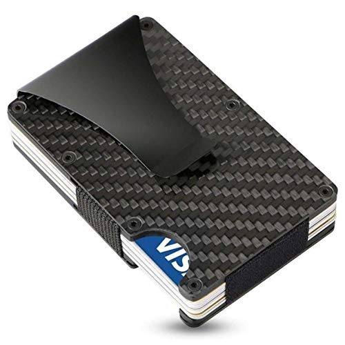 Carbon Fiber Wallet, ARW Metal Money Clip Wallet, RFID Blocking Minimalist Wallet for Men Aluminum Slim Cash Credit Card Holder