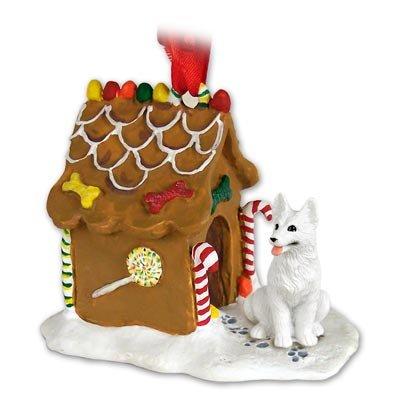 White Gingerbread Dog House Ornament - GERMAN SHEPHERD Dog White NEW Resin GINGERBREAD HOUSE Christmas Ornament 08C