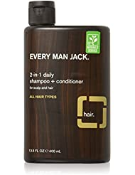 Every Man Jack Daily Shampoo+Conditioner for All hair types, Sandalwood, 13.5 Fluid Ounce