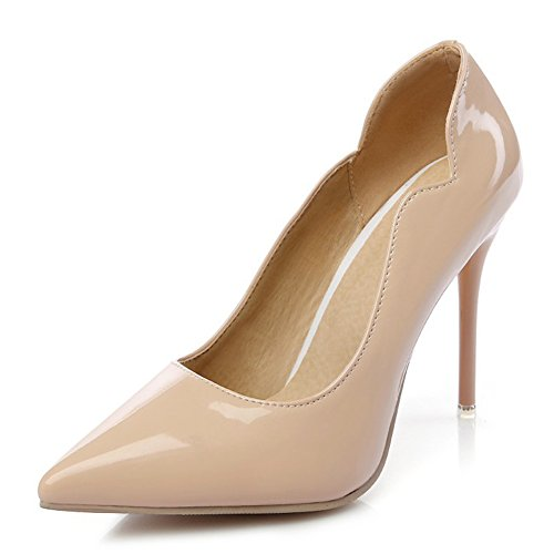 Aisun Womens Evening Party Dress Slip On Pointy Toe High Heels Stiletto Pumps Shoes Apricot u8pke7tr