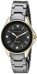 Anne Klein Women's AK/2390BKGB Diamond-Accented Gold-Tone and Black Ceramic Bracelet Watch