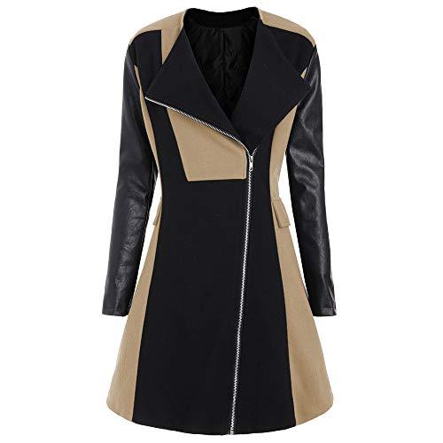 haoricu Winter Women Long Coat Plus Size Leather Patchwork Jacket Windbreaker Outwear Tops