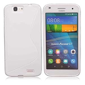 Funda de Gel posterior pantalla para Huawei Ascend G7, color blanco