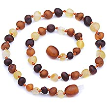 Baltic Amber Teething Necklace for Babies - Choose your color and choose your size - Maximum Pain Relief - Safety Knotted - Best quality for best price! (11.8 inches, Mixed raw)