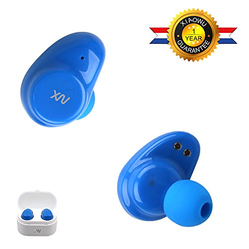 XIAOWU True Wireless Sport Earbuds IPX5 Waterproof Bluetooth Headphones Built-in Mic X7 and Mega Bass In Ear Earphones Quiet Touch with Charging Case for iPhone Samsung iPad Android (X7-Blue)