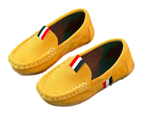 Boys Stripe Oxford - Goodhoop Girl's Boy's Suede Casual Slip on Comfortable Dress Oxford Loafer Flats Moccasin Shoes (11inch, Yellow) tap Summer Suede Stylish Room Stripes Stacy Sports Sport Safety School Sneakers
